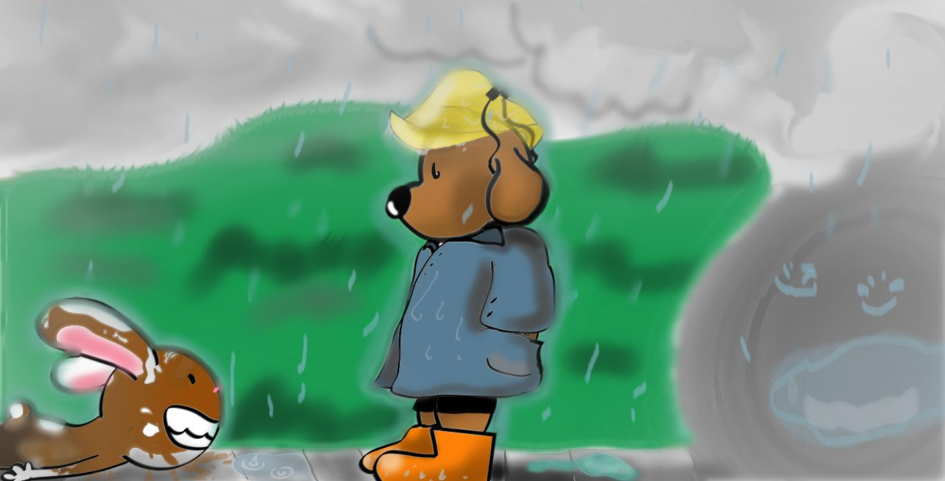 Lil Sam and Max- a rainy day